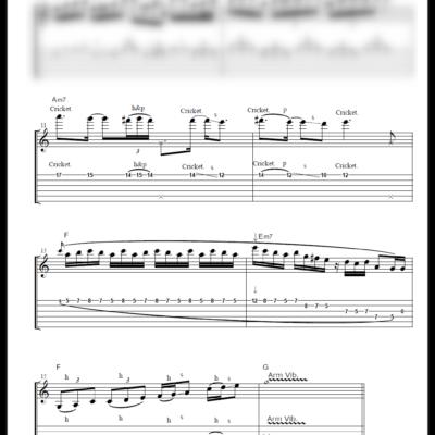 ニューミュージック ギターソロのみ採譜[五線譜+TAB譜] 作成例