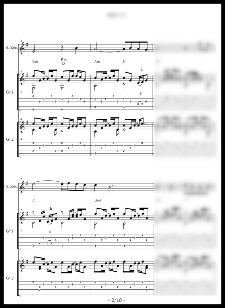 フォークソング ギター・リコーダー採譜[五線譜+タブ譜+コードネーム]